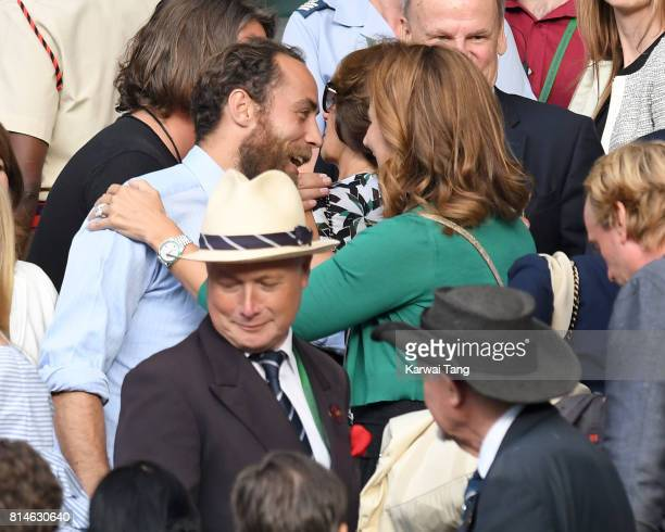 James Middleton and Mirka Federer attend day eleven of the Wimbledon Tennis Championships at the All England Lawn Tennis and Croquet Club on July 14...