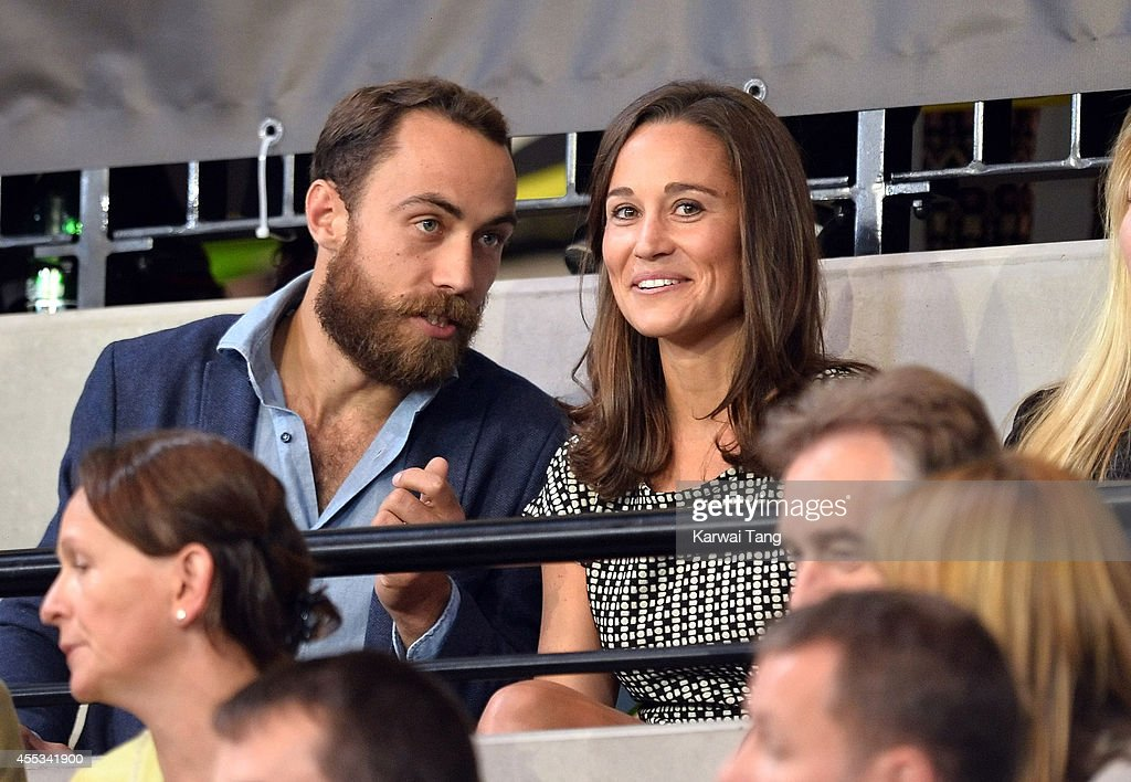 James Middleton and Pippa Middleton attend an exhibition match of wheelchair rugby at the Invictus Games at Copperbox Queen Elizabeth Park on...