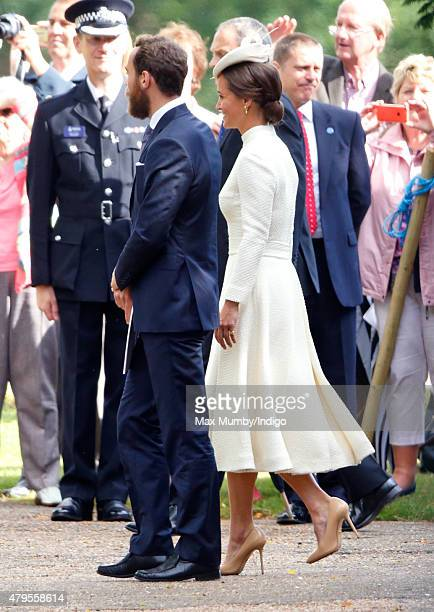 James Middleton and Pippa Middleton attend the christening of Princess Charlotte of Cambridge at the church of St Mary Magdalene on the Sandringham...