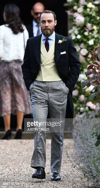 James Middleton brother of the bride attends the wedding of Pippa Middleton and James Matthews at St Mark's Church in Englefield west of London on...