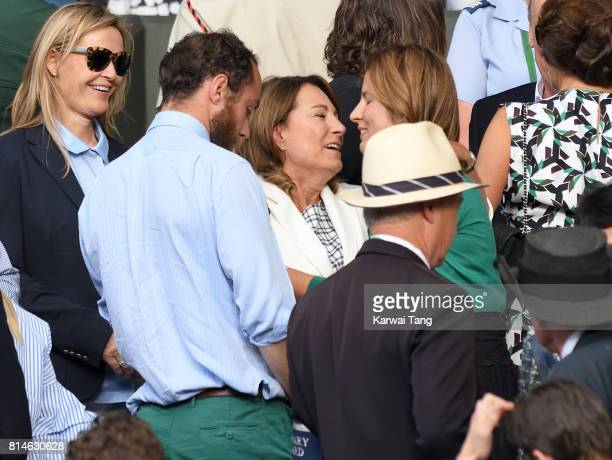 James Middleton Carole Middleton and Mirka Federer attend day eleven of the Wimbledon Tennis Championships at the All England Lawn Tennis and Croquet...