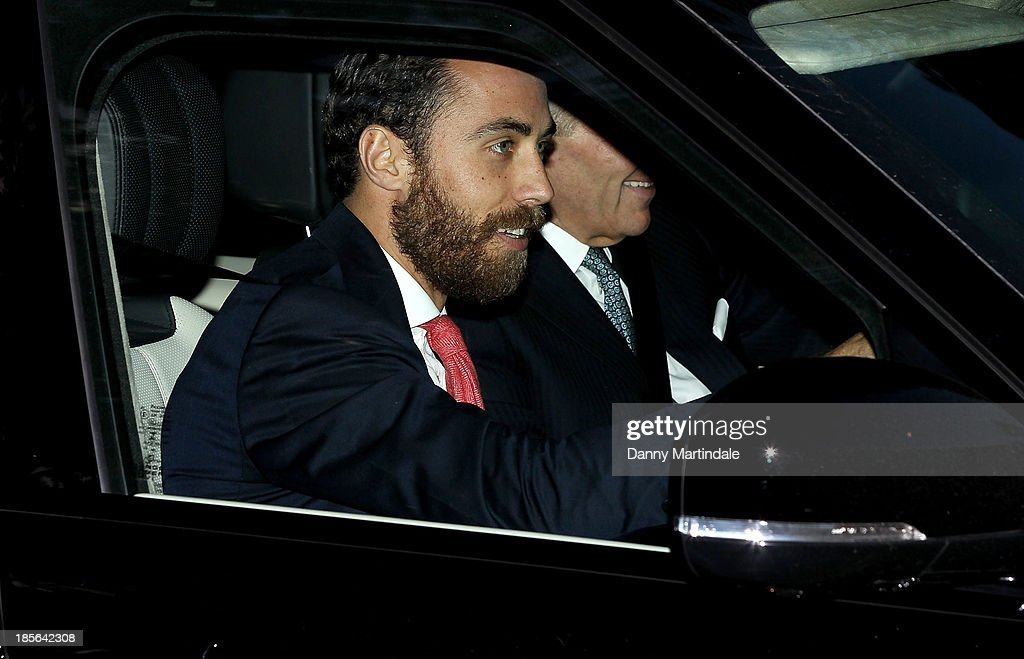 James Middleton departs the christening of the three month-old Prince George of Cambridge by the Archbishop of Canterbury at St James' Palace on October 23, 2013 in London, England.