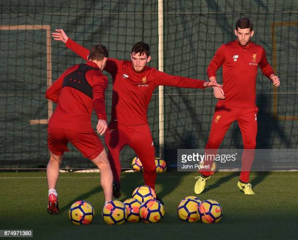James Milner and Andrew Robertson of Liverpool during a training session at Melwood Training Ground on November 16 2017 in Liverpool England