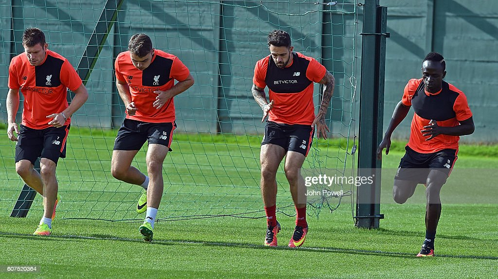 James Milner, Conner Randall, Danny Ings and Sadio Mane of Liverpool during a training session at Melwood Training Ground on September 18, 2016 in Liverpool, England.