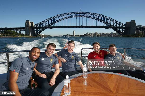 James Milner Daniel Sturridge Adam Lallana Harry Wilson and Connor Randall pose on Sydney Harbour during a Liverpool FC player visit to Taronga Zoo...