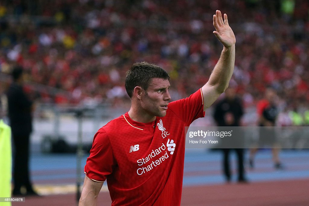 <a gi-track='captionPersonalityLinkClicked' href=/galleries/search?phrase=James+Milner&family=editorial&specificpeople=214576 ng-click='$event.stopPropagation()'>James Milner</a> during the international friendly match between Malaysia XI and Liverpool FC at Bukit Jalil National Stadium on July 24, 2015 in Kuala Lumpur, Malaysia.