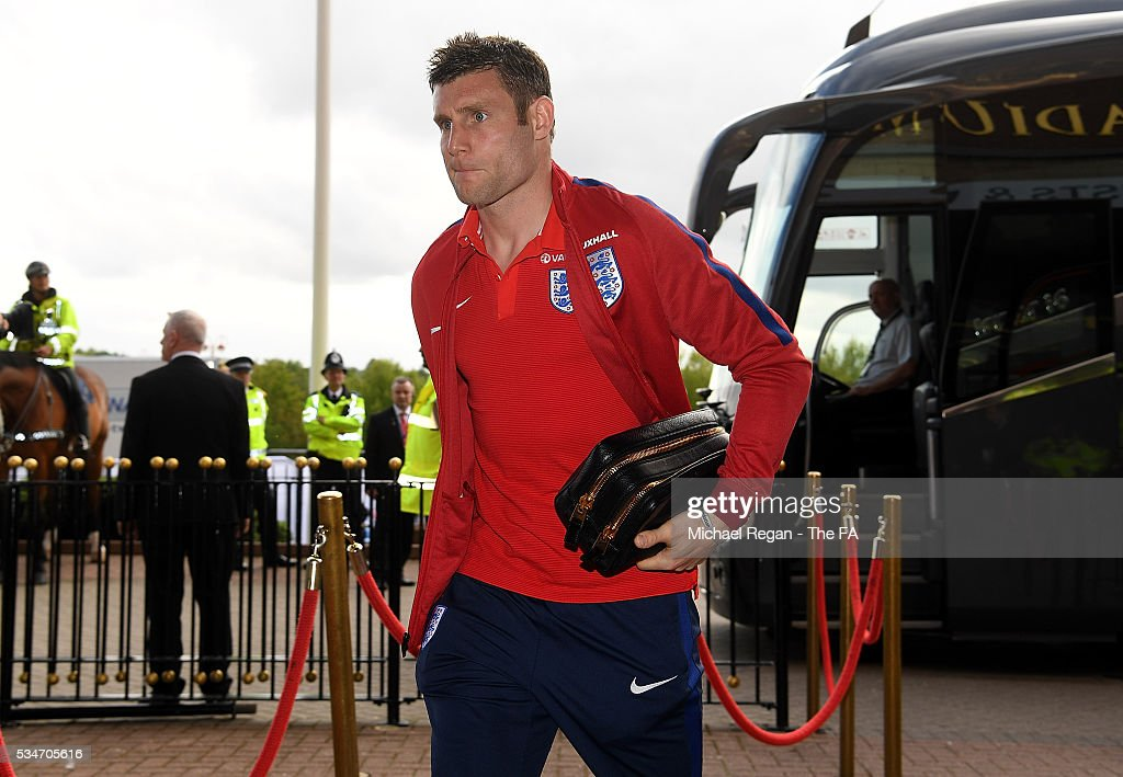 <a gi-track='captionPersonalityLinkClicked' href=/galleries/search?phrase=James+Milner&family=editorial&specificpeople=214576 ng-click='$event.stopPropagation()'>James Milner</a> of England arrives at the ground ahead of the International Friendly match between England and Australia at Stadium of Light on May 27, 2016 in Sunderland, England.