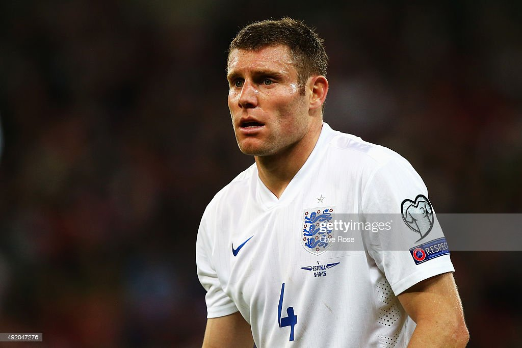 James Milner of England looks on during the UEFA EURO 2016 Group E qualifying match between England and Estonia at Wembley on October 9 2015 in...