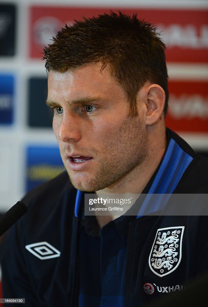 <a gi-track='captionPersonalityLinkClicked' href=/galleries/search?phrase=James+Milner&family=editorial&specificpeople=214576 ng-click='$event.stopPropagation()'>James Milner</a> of England speaks to the media during a Press Conference at St Georges Park on March 19, 2013 in Burton-upon-Trent, England.