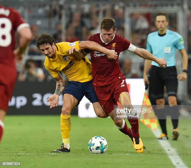 James Milner of Liveprool competes with Sime Vrsaljko of Atletico Madrid during the Audi Cup 2017 match between Liverpool FC and Atletico Madrid at...