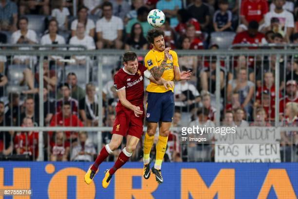 James Milner of Liverpool and Sime Vrsaljko of Atletico Madrid battle for the ball during the Audi Cup 2017 match between Liverpool FC and Atletico...