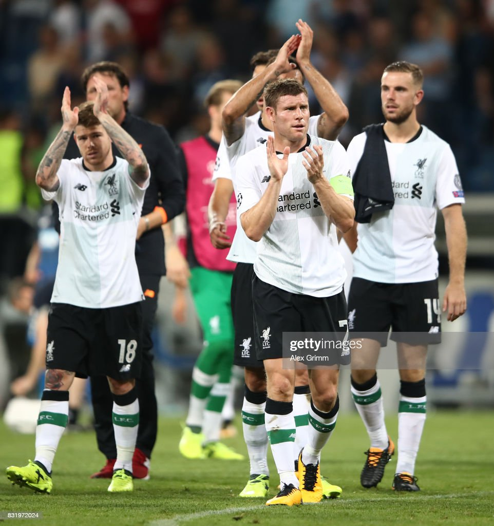 James Milner of Liverpool (7) and team celebrate after the final whistle during the UEFA Champions League Qualifying Play-Offs Round First Leg match between 1899 Hoffenheim and Liverpool FC at Wirsol Rhein-Neckar-Arena on August 15, 2017 in Sinsheim, Germany.