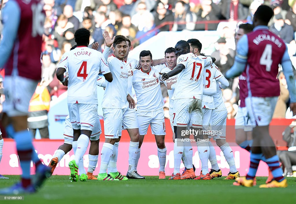 <a gi-track='captionPersonalityLinkClicked' href=/galleries/search?phrase=James+Milner&family=editorial&specificpeople=214576 ng-click='$event.stopPropagation()'>James Milner</a> of Liverpool celebrates after scoring during the Barclays Premier League match between Aston Villa and Liverpool at Villa Park on February 14, 2016 in Birmingham, England.