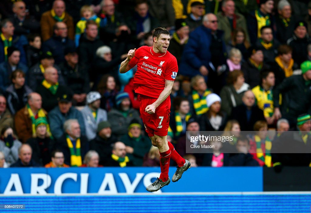 <a gi-track='captionPersonalityLinkClicked' href=/galleries/search?phrase=James+Milner&family=editorial&specificpeople=214576 ng-click='$event.stopPropagation()'>James Milner</a> of Liverpool celebrates scoring his team's fourth goal during the Barclays Premier League match between Norwich City and Liverpool at Carrow Road on January 23, 2016 in Norwich, England.