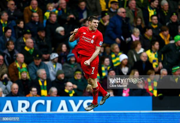 James Milner of Liverpool celebrates scoring his team's fourth goal during the Barclays Premier League match between Norwich City and Liverpool at...
