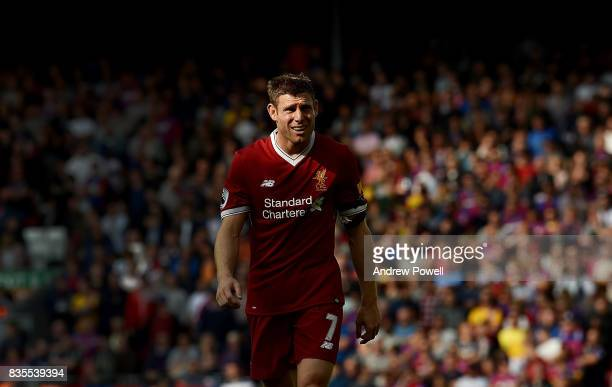 James Milner of Liverpool during the Premier League match between Liverpool and Crystal Palace at Anfield on August 19 2017 in Liverpool England
