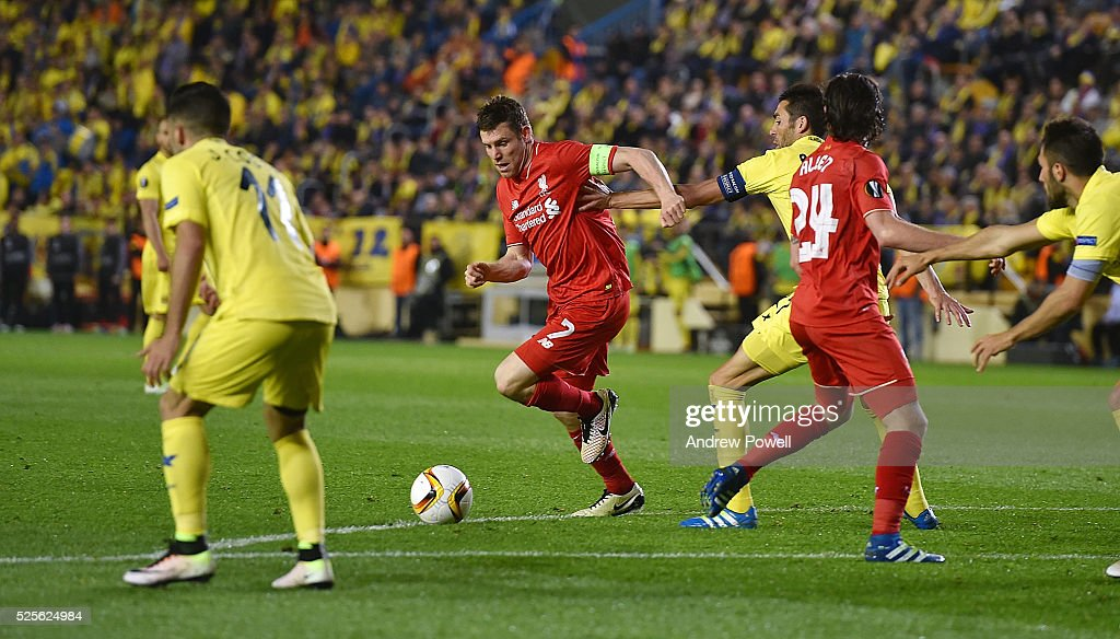 James Milner of Liverpool during the UEFA Europa League Semi Final: First Leg match between Villarreal CF and Liverpool on April 28, 2016 in Villarreal, Spain.