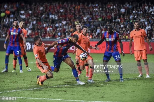 James Milner of Liverpool FC competes for the ball against Ruben LoftusCheek of Crystal Palace during a 2017 Premier League Asia Trophy fixture at...