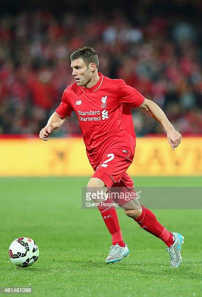 James Milner of Liverpool FC looks to pass the ball during the international friendly match between Adelaide United and Liverpool FC at Adelaide Oval...