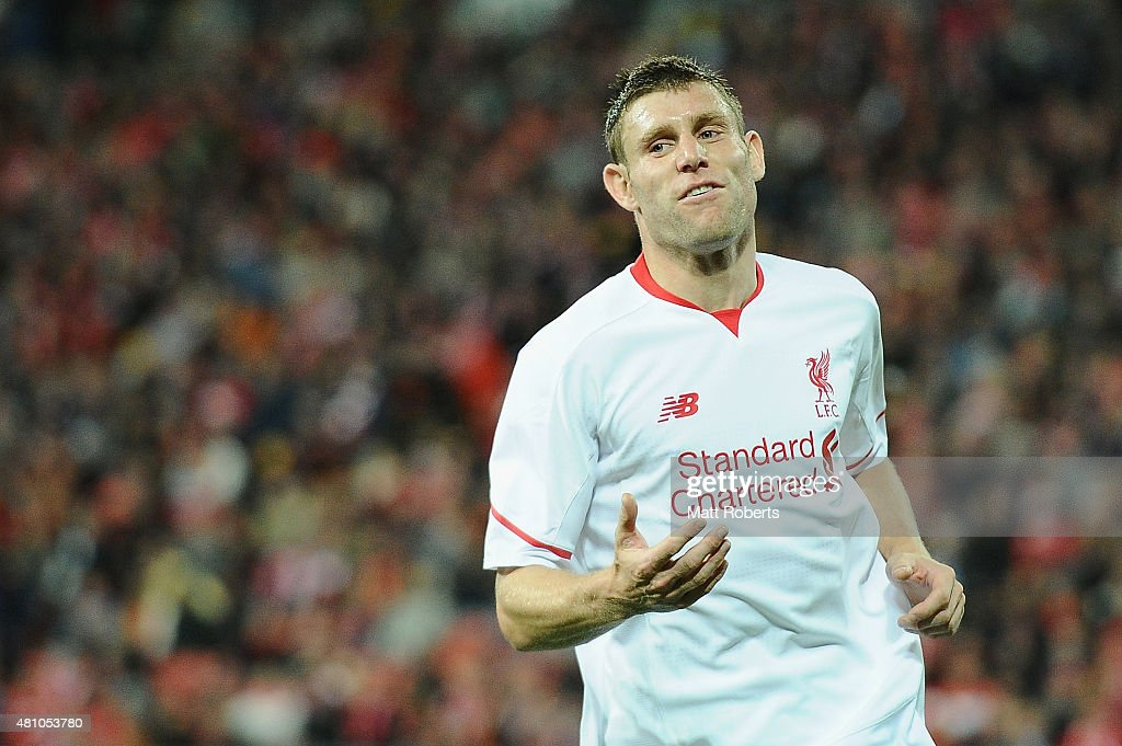 <a gi-track='captionPersonalityLinkClicked' href=/galleries/search?phrase=James+Milner&family=editorial&specificpeople=214576 ng-click='$event.stopPropagation()'>James Milner</a> of Liverpool FC reacts during the international friendly match between Brisbane Roar and Liverpool FC at Suncorp Stadium on July 17, 2015 in Brisbane, Australia.