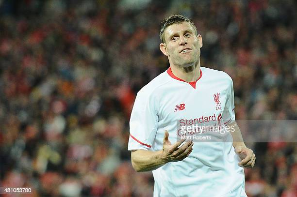 James Milner of Liverpool FC reacts during the international friendly match between Brisbane Roar and Liverpool FC at Suncorp Stadium on July 17 2015...