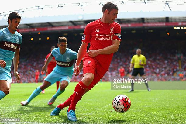 James Milner of Liverpool in action during the Barclays Premier League match between Liverpool and West Ham United at Anfield on August 29 2015 in...