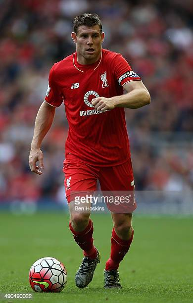 James Milner of Liverpool in action during the Barclays Premier League match between Liverpool and Aston Villa on September 26 2015 in Liverpool...