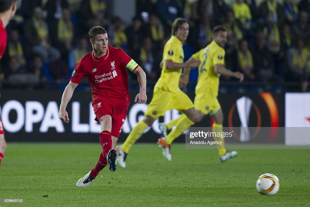 James Milner of Liverpool in action during the UEFA Europa League Semi Final match between Villarreal and Liverpool at Estadio El Madrigal in Villareal, Spain on April 28, 2016.