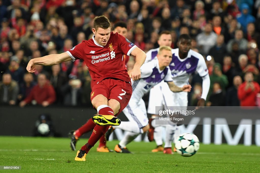 James Milner of Liverpool misses a penalty during the UEFA Champions League group E match between Liverpool FC and NK Maribor at Anfield on November 1, 2017 in Liverpool, United Kingdom.