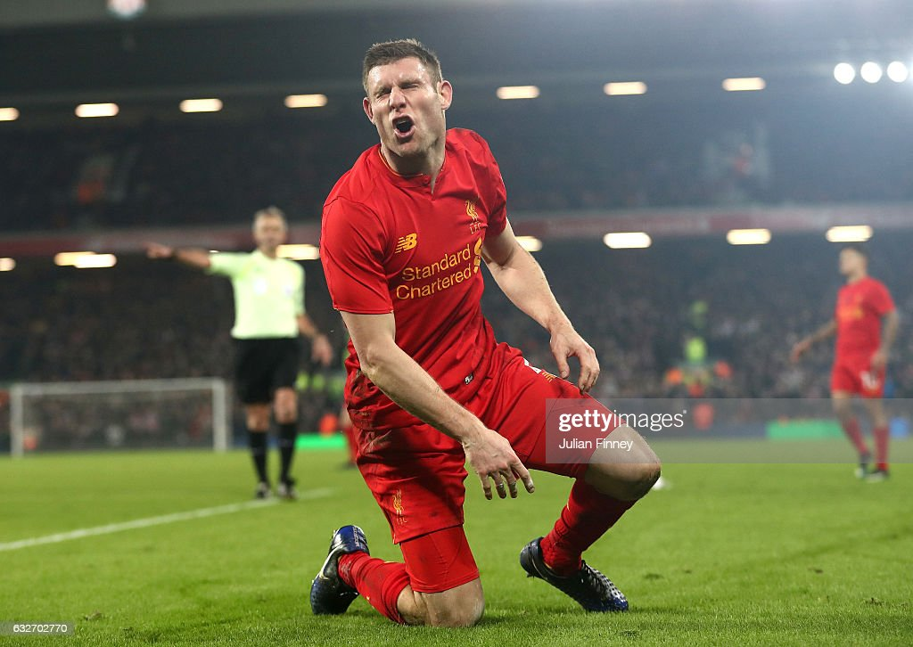 James Milner of Liverpool reacts during the EFL Cup Semi-Final Second Leg match between Liverpool and Southampton at Anfield on January 25, 2017 in Liverpool, England.