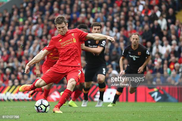 James Milner of Liverpool scores his sides fith goal during the Premier League match between Liverpool and Hull City at Anfield on September 24 2016...