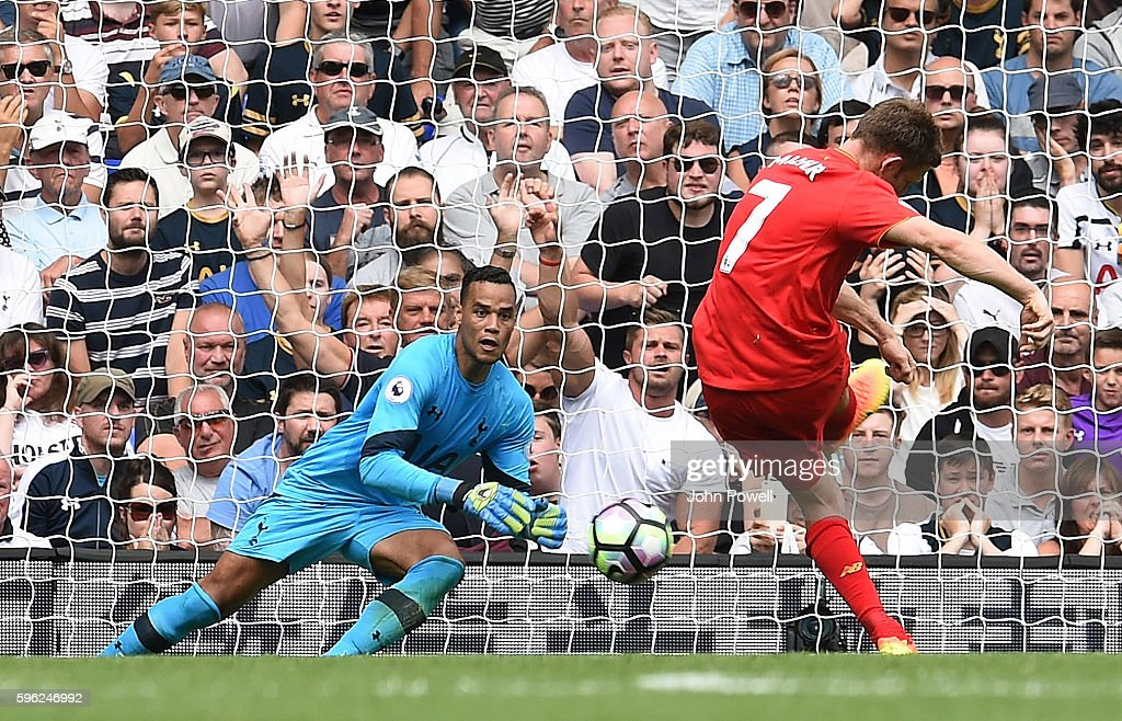 James Milner of Liverpool scoring the opening goal from the penalty spot during the Premier League match between Tottenham Hotspur and Liverpool at White Hart Lane on August 27, 2016 in London, England.