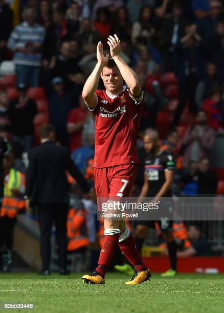 James Milner of Liverpool shows his appreciation to the fans at the end of the Premier League match between Liverpool and Crystal Palace at Anfield...