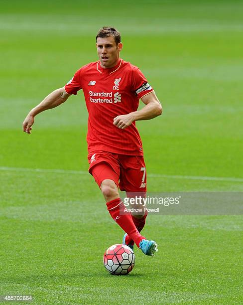 James Milner of Liverpool wearing the captains armband during the Barclays Premier League match between Liverpool and West Ham United on August 29...