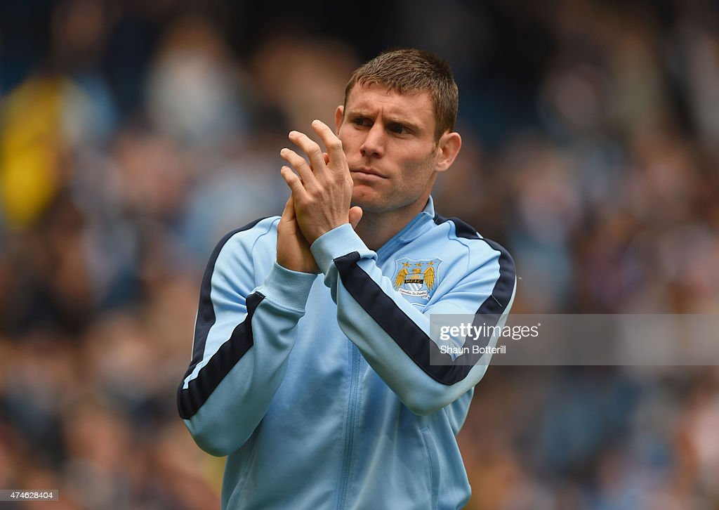 <a gi-track='captionPersonalityLinkClicked' href=/galleries/search?phrase=James+Milner&family=editorial&specificpeople=214576 ng-click='$event.stopPropagation()'>James Milner</a> of Manchester City applauds supporters after the Barclays Premier League match between Manchester City and Southampton at Etihad Stadium on May 24, 2015 in Manchester, England.