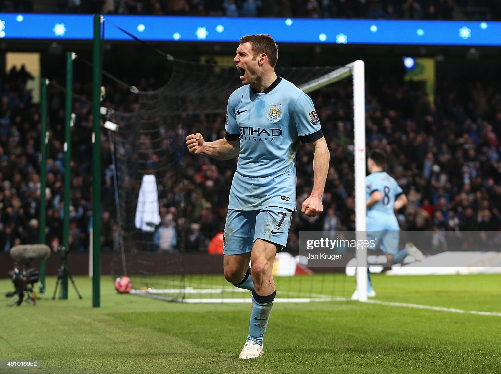 <a gi-track='captionPersonalityLinkClicked' href=/galleries/search?phrase=James+Milner&family=editorial&specificpeople=214576 ng-click='$event.stopPropagation()'>James Milner</a> of Manchester City celebrates after scoring a goal to level the scores at 1-1 during the FA Cup Third Round match between Manchester City and Sheffield Wednesday at Etihad Stadium on January 4, 2015 in Manchester, England.