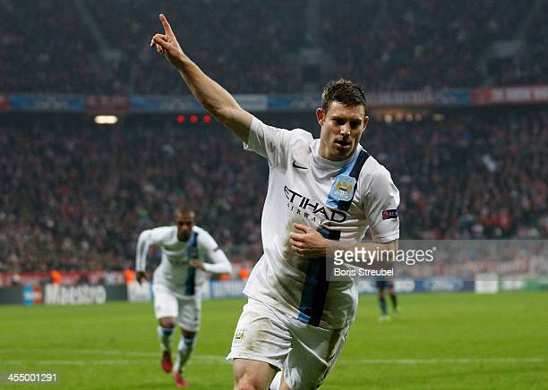 James Milner of Manchester City celebrates after scoring his team's third goal during the UEFA Champions League Group D match between FC Bayern...