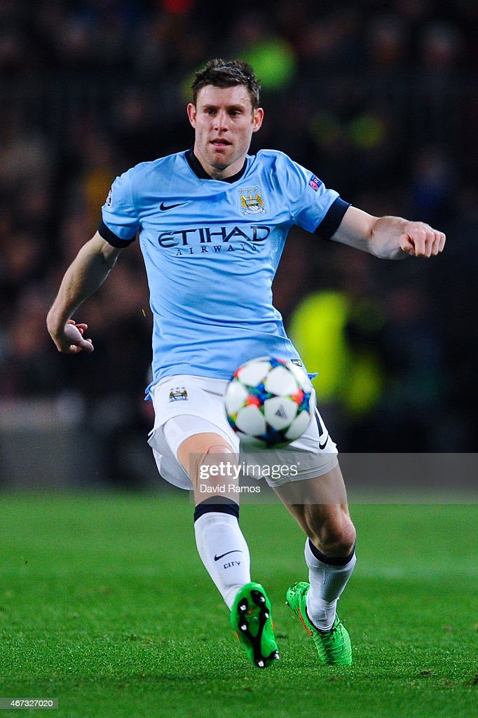 <a gi-track='captionPersonalityLinkClicked' href=/galleries/search?phrase=James+Milner&family=editorial&specificpeople=214576 ng-click='$event.stopPropagation()'>James Milner</a> of Manchester City FC runs with the ball during the UEFA Champions League round of 16 second leg match between FC Barcelona and Manchester City at the Camp Nou stadium on March 18, 2015 in Barcelona, Spain.