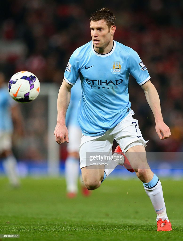<a gi-track='captionPersonalityLinkClicked' href=/galleries/search?phrase=James+Milner&family=editorial&specificpeople=214576 ng-click='$event.stopPropagation()'>James Milner</a> of Manchester City in action during the Barclays Premier League match between Manchester United and Manchester City at Old Trafford on March 25, 2014 in Manchester, England.