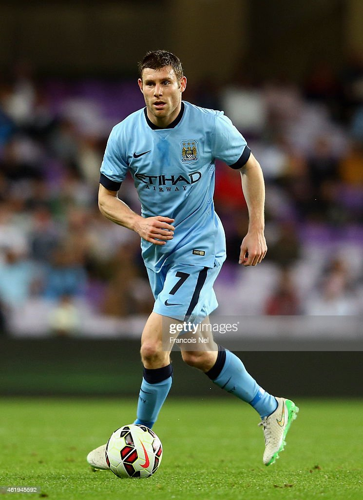 <a gi-track='captionPersonalityLinkClicked' href=/galleries/search?phrase=James+Milner&family=editorial&specificpeople=214576 ng-click='$event.stopPropagation()'>James Milner</a> of Manchester City in action during the friendly match between Hamburg SV and Manchester City at Hazza bin Zayed Stadium on January 21, 2015 in Al Ain, United Arab Emirates.