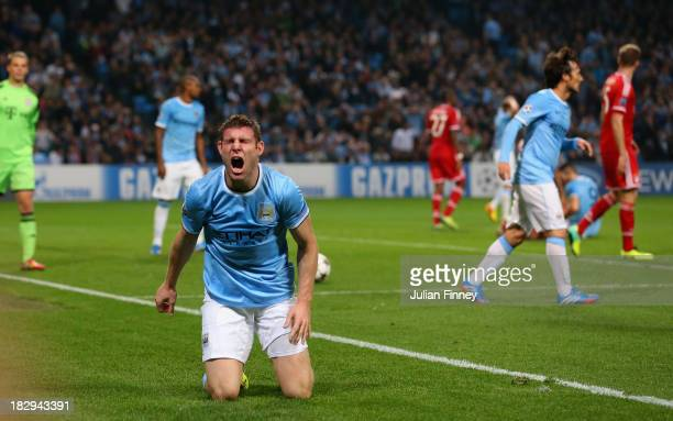James Milner of Manchester City reacts during the UEFA Champions League Group D match between Manchester City and FC Bayern Muenchen at Etihad...