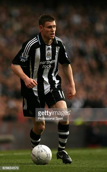James Milner of Newcastle in action during the FA cup 4th round tie between Arsenal and Newcastle United at The Emirates stadium on January 26 in...