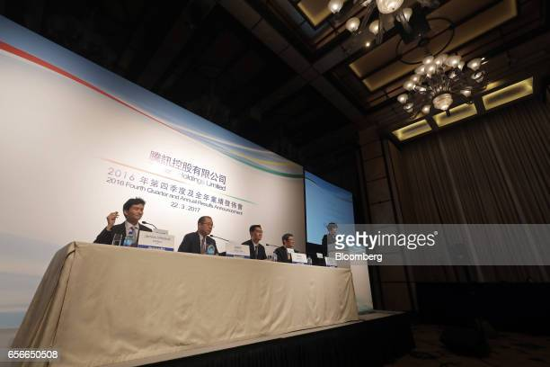 James Mitchell chief strategy officer of Tencent Holdings Ltd from left Martin Lau president Ma Huateng chairman and chief executive officer and John...