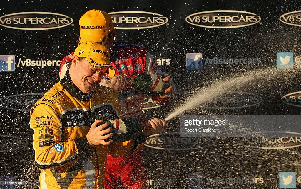 James Moffat driver of the Norton 360 Racing Nissan celebrates after winning Race 25 of the V8 Supercar Championship Series at Winton Motor Raceway...