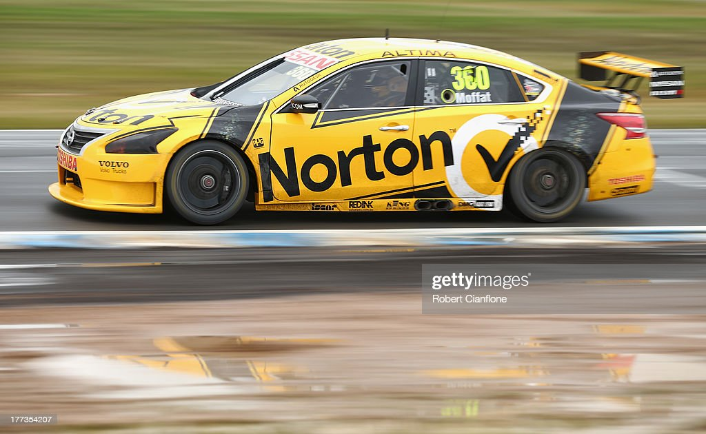 James Moffat drives the Norton 360 Racing Nissan during practice for Race 25 at Winton Motor Raceway on August 23 2013 in Benalla Australia