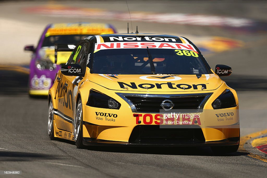 James Moffat drives the #360 Norton 360 Racing Nissan during race one of the Clipsal 500, which is round one of the V8 Supercar Championship Series, at the Adelaide Street Circuit on March 2, 2013 in Adelaide, Australia.