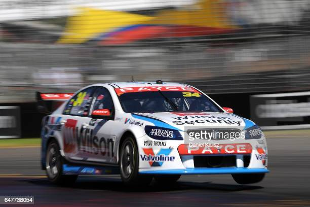 James Moffat drives the Wilson Security Racing GRM Holden Commodore VF during race 1 for the Clipsal 500 which is part of the Supercars Championship...
