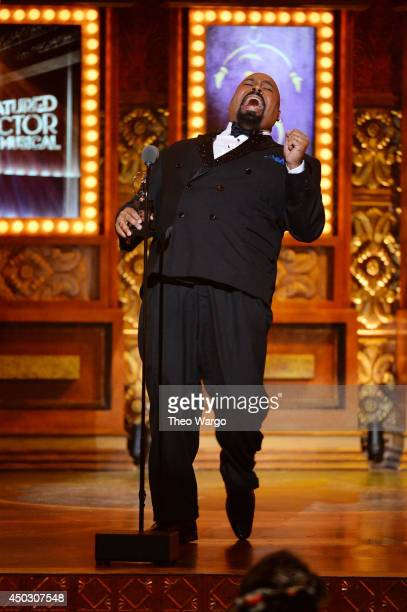 James Monroe Iglehart accepts the award for Best Performance by an Actor in a Featured Role in a Musical for 'Aladdin' onstage during the 68th Annual...