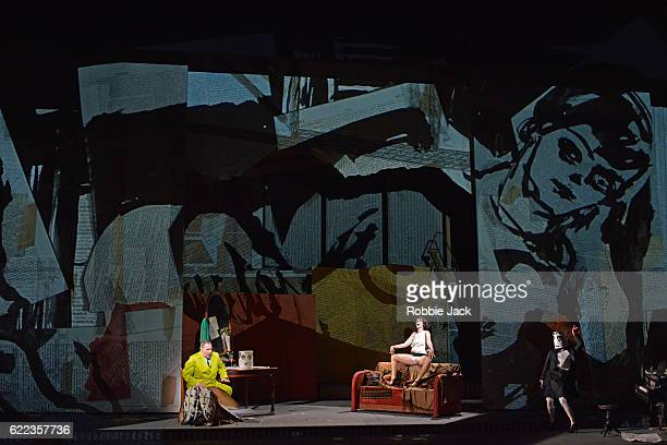 James Morris as Dr Schon Brenda Rae as Lulu and Joanna Dudley as Solo Performer in English National Opera's production of Alban Berg's 'Lulu'...