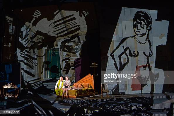 James Morris as Dr Schon Brenda Rae as Lulu in English National Opera's production of Alban Berg's 'Lulu' directed and designed by William Kentridge...